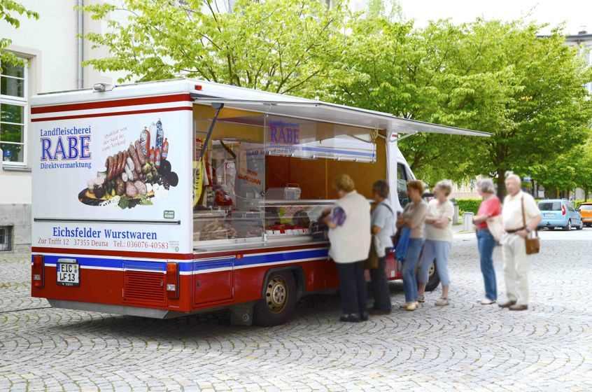 Landfleischerei-Rabe-Deuna-Eichsfeld-Thüringen-Verkaufsauto-Wochenmarkt-Nordhausen